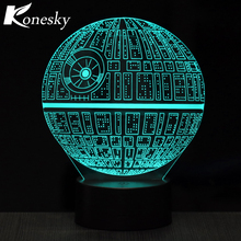 Creative Gifts Death Star shark football luminaria 3D Night Light USB Led Table Desk Lampara Home Decor Bedroom Reading kids toy(China)
