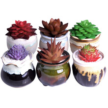 WIUSE 6Pcs Mini Potted Flower Pots Ceramic Pot Planters Loverly Succulents Garden Plant Bonsaipot Home Decoration