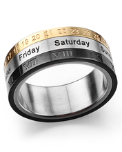 Punk Spinner Ring Date Number & Roman Numeral &Day 3 In 1 Design Hip Hop Rotatable Stainless Steel Band Display Golden Silver