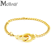 Mcllroy Trade 5 Colors Trends Handcuffs Bracelets For Women Fashion Carved FREEDON Couples lock Bracelets & Bangles(China)