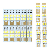 10PCS/Lot Portable Mini USB light Power 2 LED/ 4 LEDs Night Light 5050 chips led Lamp white Light For Power Bank Computer Laptop