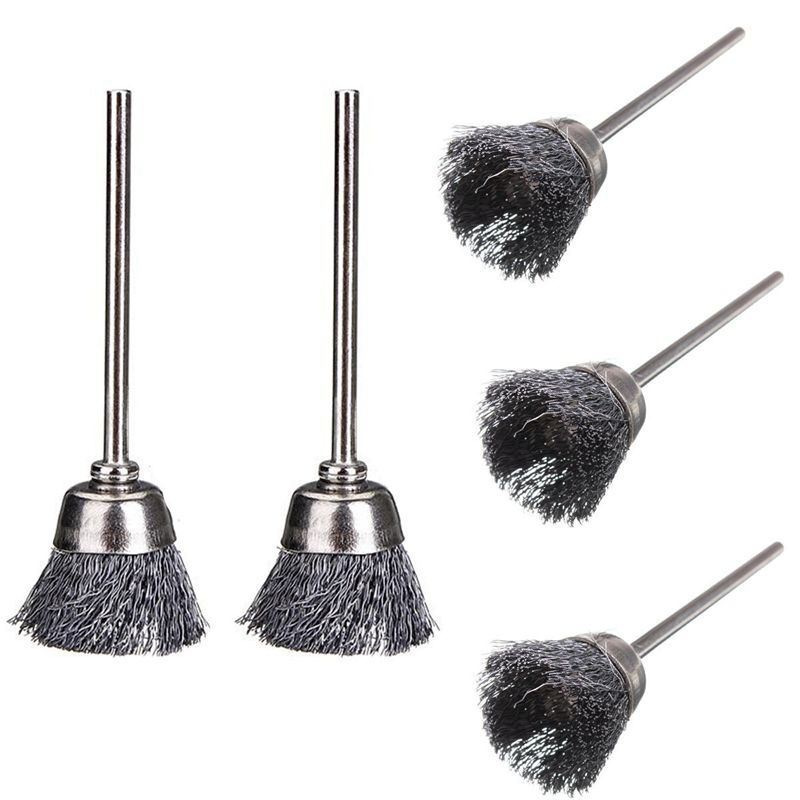2 Pcs 3mm x 17mm Steel Wire Cup Brush for Rotary Tools Die Grinder