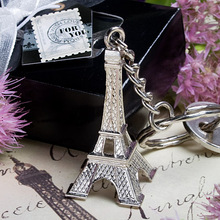 FREE SHIPPING by DHL,FEDEX,UPS(50pcs/Lot)+Cheap Wedding Favors Silver Metal Eiffel Tower Keychain Ring in Gift Box