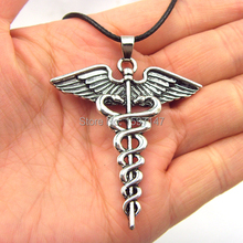 12pcs/lot Wholesale Percy Jackson Angle Wings Magic Wand Caduceus Pendant Necklace Movies Jewelry