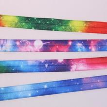 100Yard DHL Free shippin Ombre Rainbow Fold Elastic Bands Starry Printed 1.5cm FOE elastic Band for DIY ponytail holder(China)