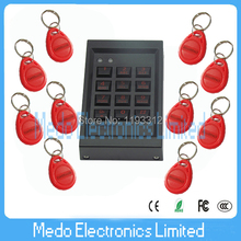 2016 Teclado Electronic lock mini controller Small Size 125khz Rfid/em Id Card Door Access Control Device with 10 Red Keyfobs