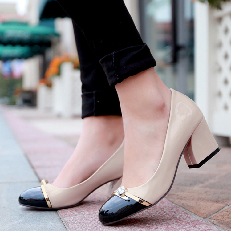 color block thick heel pumps shoes woman 2017 female spring summer patent leather  round toe low cut high heels shoes sweet<br><br>Aliexpress