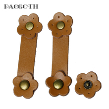 PACGOTH 2017 New Designed Real Leather Snap Closure for Purse Handles Flower Brown 8cm x2.4cm 2.4cmx2.4cm,2 Sets
