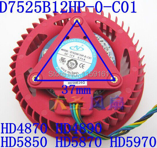 Free Shipping The original for ATI D7525B12HP-0-C01 HD4870 HD4890 HD 5850 HD5870 HD5970 DC12V 0.94A  graphics card fan<br>