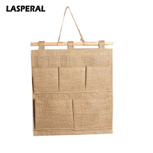 High Quality Linen Fabric Hanging Storage Bags With 5 Pockets Wall Type Makeup Organizer Home Sundries Storage Container 30*35CM(China)