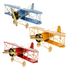 Educational Creative Vintage Metal Airplane Model Biplane Military Aircraft Home Christmas Decoration Toy Red Children Kid Toys