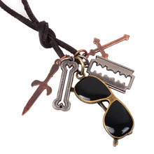 QN Ornaments Imitate Bronze Restore Ancient Ways Exceed Glasses Five Parts Pendeloque Cut Cowhide Long Money Chain(China)