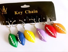 12pcs Rugby KeyChains HANDMADE Car Key Rings Colorful PU Bag Pendant Wedding Sport Team Game Gift Travel Souvenir 7045(China)