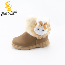2016 winter new Korean children's snow boots girls lovely style Bunny boots cotton baby shoes safty quality boots for kids
