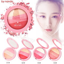 Ice Cream 3 Colors Blusher Mineral Baked Blush Cheek Contour Smooth Waterproof Face Makeup Blush Powder