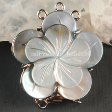 Free shipping Fashion JewelryNatural Mother of pearl Shell Art Clasp use to 3 Row Necklace MC3627(China)