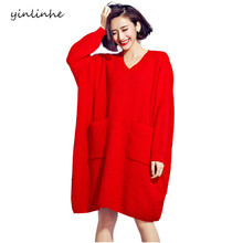 yinlinhe 2017 woolen dress women Large Size Autumn Red solid Vintage Pullover Long Sleeve Girls Dress Winter Clothes Pockets 624(China)