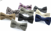 CLIP ON bow tie men's wool bowtie father and son family matching bow tie groomsman wholesale(China)