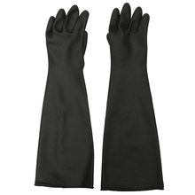 1 Pair Emulsion Chemical Resistance Industry Elbow Long Rubber Gloves Acid Chemical Midoni Security Safely Black(China)