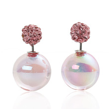 Doreen Box Acrylic Double Sided Ear Post Stud Earrings Ball AB Color Pink Rhinestone 8mm Dia. 16mm Dia.,1 Pair