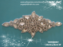 (30PCS) Wholesale hand beaded sewing crystal glass silver rhinestone applique patch iron on for dress WDD0083(China)