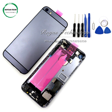 5 PCS/Lot New Style Replacement Back Cover Rear Door for iphone 5s like 6 Housing Middle Frame with flex cable assembly+Tools