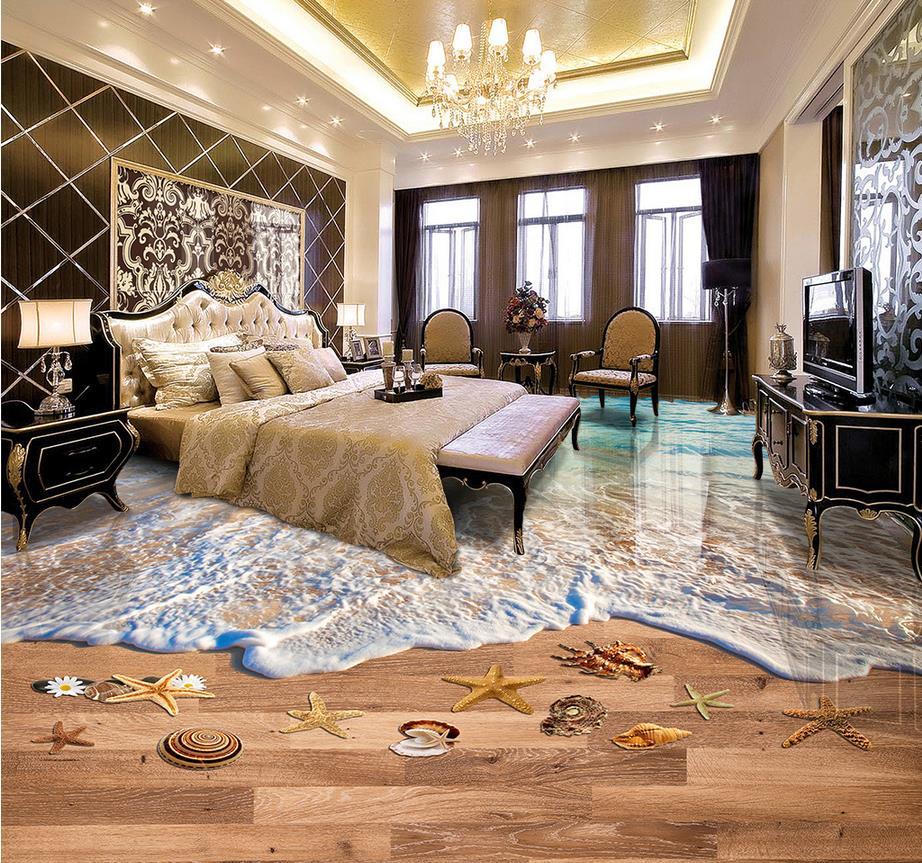 Chinese 3d flooring for bathroom Waves beach 3d floor painting photo wallpaper 3d pvc flooring waterproof<br>