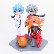 11cm Anime EVA Neon Genesis Evangelion figure Ayanami Rei Asuka Langley Soryu Nagisa Kaworu pvc action figure toy set 3pcs(China)