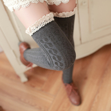 Women Sexy Thigh High Socks Girls Stockings Lace Winter Warm Socks Stocking Medias Pantyhose Stockings Knee High Socks 5 Colors