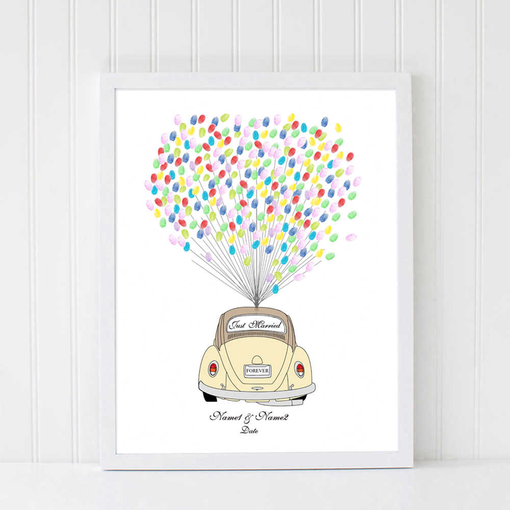 Wedding Car,Wedding Gift Free custom Name Date DIY Fingerprint Signature Guest Book For Engagement Party Wedding Anniversary