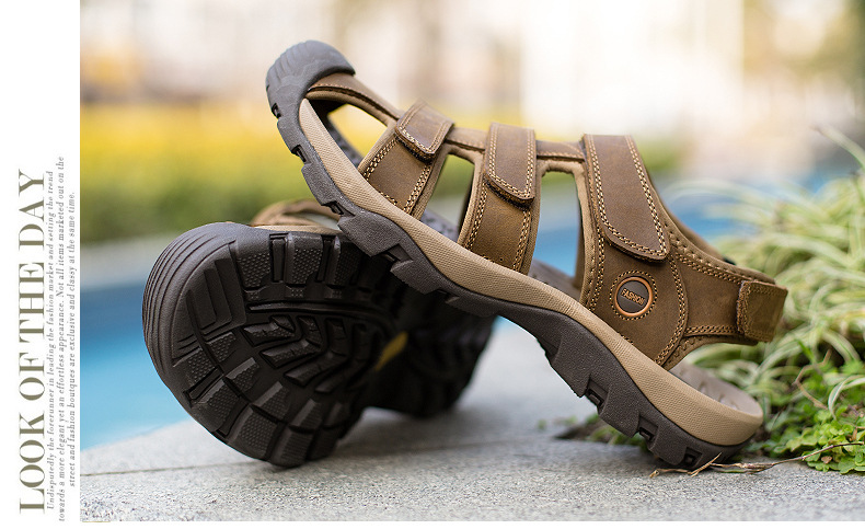 Summer Man Sandals Beach Shoes 2018 High Quality Genuine Leather Prevent Slippery Wear-resisting Outdoor Sandals Large Size 46 16 Online shopping Bangladesh