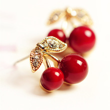 2016 New Fashion Cute Lovely Red Cherry Earrings Rhinestone Leaf Bead Stud Earrings For Woman Jewelry Boucle D'oreille Femme