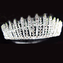 Western Baroque Vintage Hair Accessories Silver Color Crystal Rhinestone Big Wedding Tiaras Bridal Princess Queen Prom Crowns