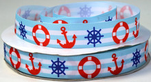 "New arrival wholesale  50yards/lot 1"" Anchor, Life Preserver and Ships Wheel Print Grosgrain Ribbon"