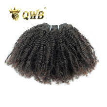 QWB Coily Curly Free shipping 14''~22'' Queen Weave Beauty Brazilian Virgin Hair Nature Color 100% Human Hair Weaving(China)