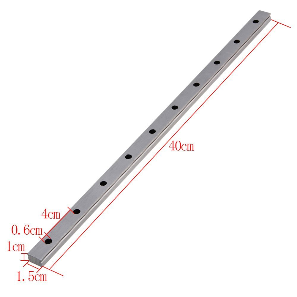 MGN15 400mm Length Bearing Steel Linear Sliding Guideway Rail Silver<br>