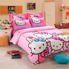Unihome Home textiles Children Cartoon Hello kitty kids bedding set, include duvet cover bed sheet pillowcase(China)