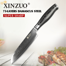 "XINZUO 5"" Japanese chef knfie 73 layers VG10 Damascus steel kitchen knives chef santoku knife forge wood handle free shipping(China)"