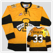 Brandon Wheat Kings #33 Dustin Byfuglien Yellow Hockey Jersey Embroidery Stitched Customize any number and name Jerseys(China)