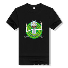 Cool Rick Morty men t shirt 2017Summer Anime T-shirts rick and morty worlds folk black White Fitness Cartoon tee shirt hommeTops(China)