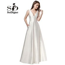 Evening Dress 2017 SoDigne Fancy White Gala Dress A Line Simple Prom Dress V Neck Puffy Satin Cheap Party Dress For Girls New(China)