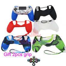 Camo Pure Color Black Red Green Clear Silicone Cover Case Skin for Sony PS4 Controller W/ handle Ring Grips Cover(China)
