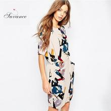 Fashion Summner Print Shape Waist Short Sleeves Chiffon Mini Dress Quality Brand Euro Style Women Vestidos E680