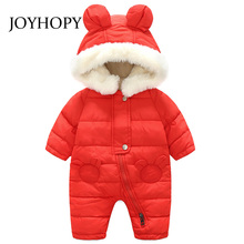 NEW Baby Rompers Winter Thick Warm Baby boy Clothing Long Sleeve Cute Bear Hooded Jumpsuit Kids Newborn Outwear(China)