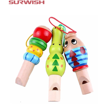 Surwish 1 pcs Wooden Random color Toys Cartoon Animal Whistle Educational Music Instrument Toy for Baby Kids Children