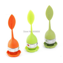 free shipping 10pcs/lot Food-grade silicone leaf tea ball  make tea bag filter stainless steel insulation tea infuser