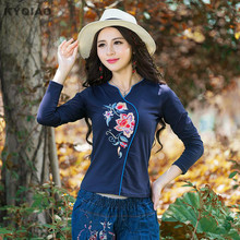 KYQIAO Ethnic t shirt women autumn winter Mexican style original designer long sleeve v neck white blue black embroidery t-shirt