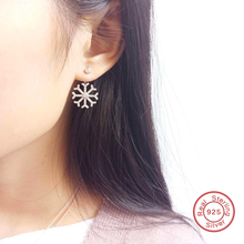 Fashion Design 100% Real 925 Sterling Silver Snowflake Shaped Adjustable Crystal Earrings for Female (KD497464)