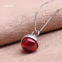 925 Sterling Silver Necklace red pendant folk Bohemia style Natural semi-precious stones garnet women jewelry girlfriend gift(China)