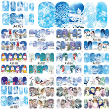 SWEET TREND 1Sheet Winter Christmas Girls Full Wraps Nail Art Water Transfer Nail Sticker Decals Nail Tips Decoration A1177-1200